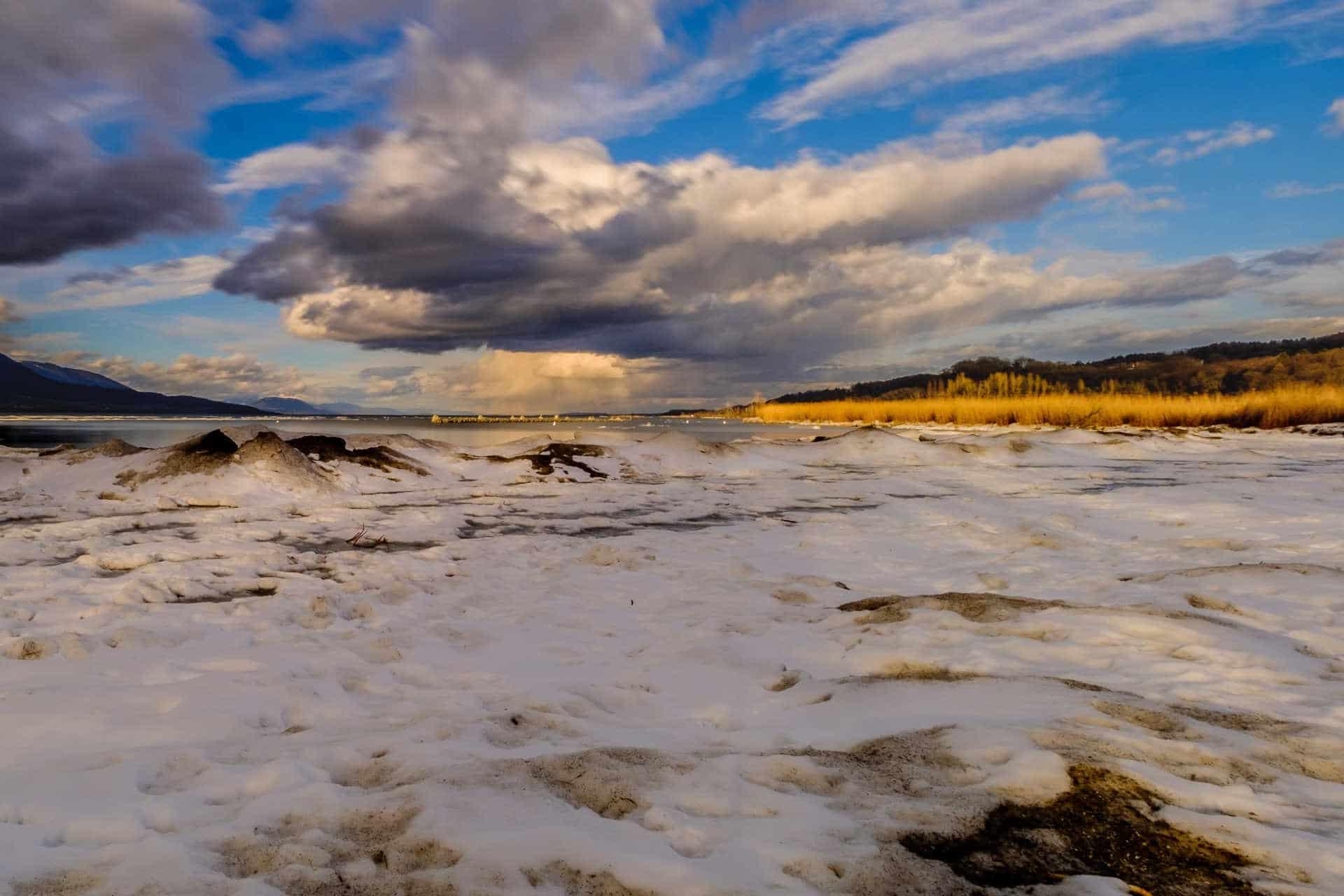 Longues poses au bord du lac après le gel